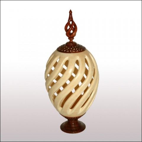Sycamore Open Barley Twist Vase With Bubinga Finial
